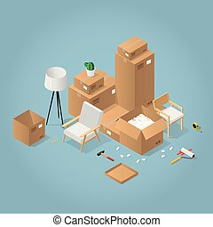 Isometric Boxes And Chair I(llustration