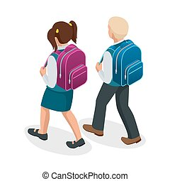 Isometric boy and girl back to school concept. Children go to school with their back packs and in school uniforms. Education. Happy to study Vector illustration used for workflow layout, banner, game