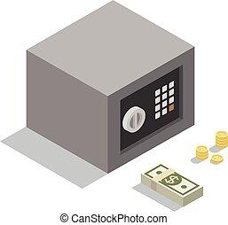 isometric, brandkast, einde, geld, muntjes, illustratie, bankpapier, vector, kleine