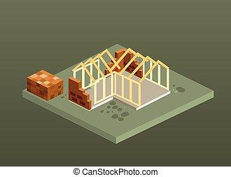 Isometric brick house construction