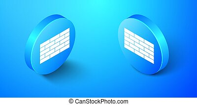Isometric Bricks icon isolated on blue background. Blue circle button. Vector
