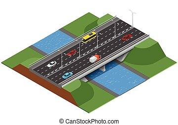 Isometric bridge over the river. Commercial transport. Various types of load and cargo. Logistics. Flat 3d Vector isometric illustration of bridge