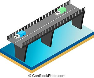 Isometric bridge over the river with cars