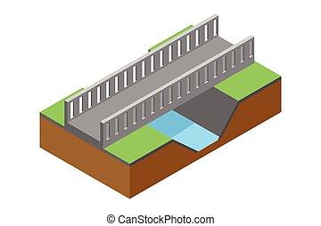 isometric bridge , vector illustration