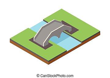 isometric bridge, vector illustration