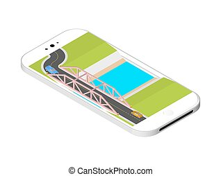 Isometric bridge with a road over the river standing on the smartphone screen. Vector illustration isolated on white background.