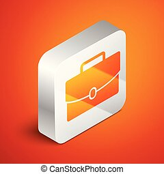 Isometric Briefcase icon isolated on orange background. Business case sign. Business portfolio. Silver square button. Vector Illustration