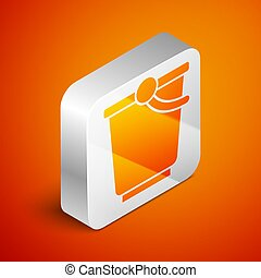 Isometric Bucket icon isolated on orange background. Silver square button. Vector