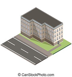Isometric building city 3d icon vector design house illustration isolated concept