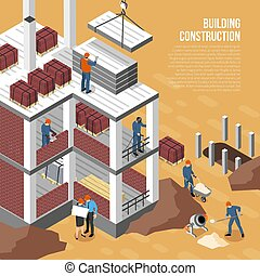 Isometric Building Construction Background