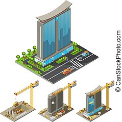 Isometric Building Construction Process Concept - Isometric...