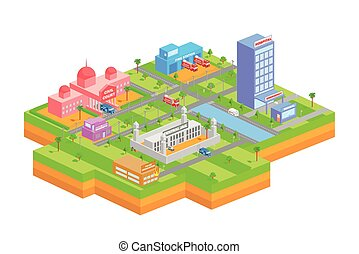 Isometric building for essential services