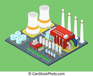 Isometric Building Industrial Factory with Pipes
