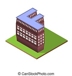 Isometric building letter F form