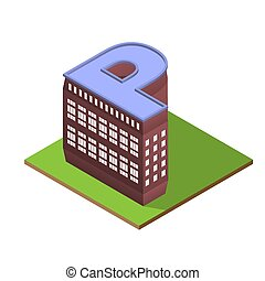 Isometric building letter P form