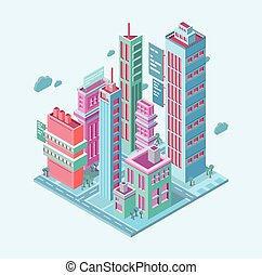 skyscrapers towers modern buildings on white background vector illustration. Isometric building. megalopolis business city.
