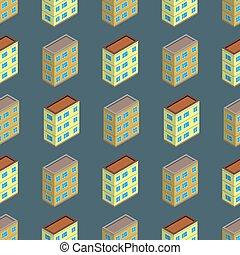 Isometric building seamless pattern