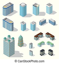 Isometric buildings set on white background