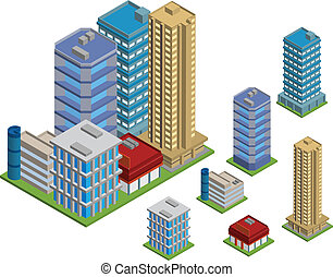 Vector pack of various isometric buildings with tiled elements, ready to use for city building game