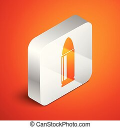 Isometric Bullet icon isolated on orange background. Silver square button. Vector Illustration