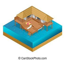 Isometric bungalow. Summer house. Wooden villa suite....
