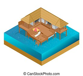 Isometric bungalow. Summer house. Wooden villa suite. Romantic cozy bungalow or small apartments building for rent or living. Timber cottage vector illustration