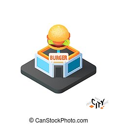 Isometric burger cafe icon, building city infographic element, vector illustration
