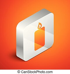 Isometric Burning candle icon isolated on orange background. Old fashioned lit candle. Cylindrical aromatic candle stick with burning flame. Silver square button. Vector Illustration