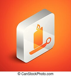 Isometric Burning candle in candlestick icon isolated on orange background. Old fashioned lit candle. Cylindrical aromatic candle stick with burning flame. Silver square button. Vector Illustration