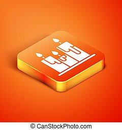 Isometric Burning candles icon isolated on orange background. Cylindrical candle stick with burning flame.  Vector Illustration