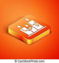 Isometric Burning candles icon isolated on orange background. Cylindrical candle stick with burning flame.  Vector Illustration