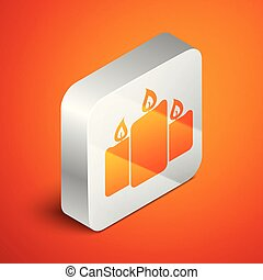 Isometric Burning candles icon isolated on orange background. Old fashioned lit candles. Cylindrical aromatic candle sticks with burning flames. Silver square button. Vector Illustration