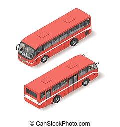 isometric, bus., ilustração, vermelho