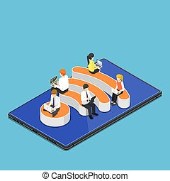 Isometric busienss people with laptops working while sitting on Wi-Fi hotspot icon
