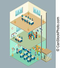 Isometric business center. Vector 3d office building with people