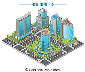 Isometric Business City Concept - Isometric business city...