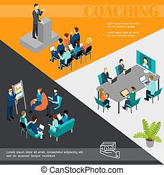 Isometric Business Coaching Colorful Template