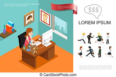 Isometric Business Colorful Concept