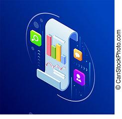 Isometric Business data analytics process management concept. Vector illustration