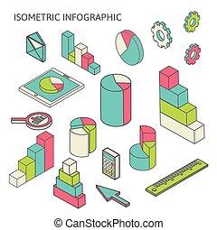 isometric business finance analytics, chart graphic