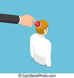 Isometric business hand pushing reset button on business man head
