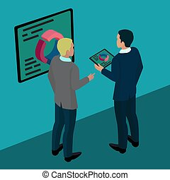 isometric business illustration conceptual planning. Vector
