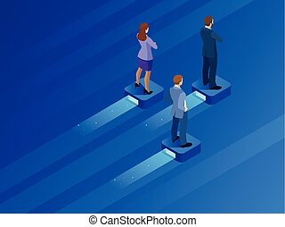 Isometric business leader and teamwork. Business persons balancing on the flying modern platform . Searching for opportunities. Concept business illustration