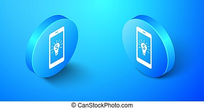 Isometric Business light bulb with dollar on smartphone screen icon isolated on blue background. User touch screen. Blue circle button. Vector