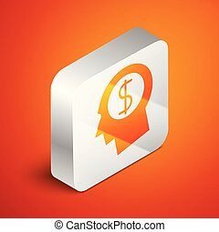 Isometric Business man planning mind icon on orange background. Human head with dollar symbol. Idea to earn money. Business investment growth concept. Silver square button. Vector Illustration