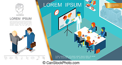 Isometric Business Management Concept