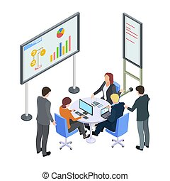 Isometric business meeting, businesspeople arguing vector illustration