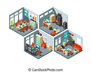 Isometric business offices with different workspaces. 3d vector office plan