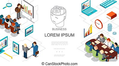 Isometric Business People And Elements Template