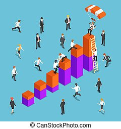 Isometric business people competing to reach the top of the graph